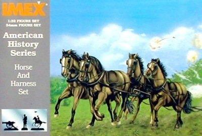 Confederate Horses & Harness Civil War Set 1/32 Imex - 1