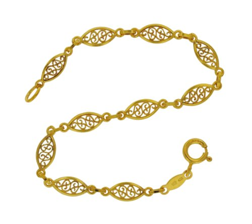 9ct Yellow Gold Filigree Oval Bracelet 18cm