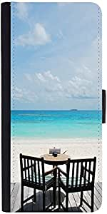 Snoogg Beautiful Beach Bar View In Maldives Graphic Snap On Hard Back Leather...