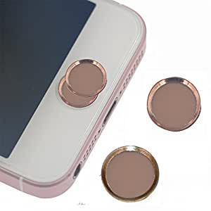 Pack of 2 ROSE Gold iPad Home Button Sticker ,support Fingerprint Indentification Touch ID FOR iPhone se iPhone 6/6s iPhone 6 plus/6s plus ( 2 Rosegold )