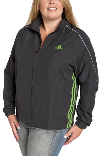 adidas Women's Plus 3-Stripe Wind Jacket, Rubia Grey/Rave Green, 1X