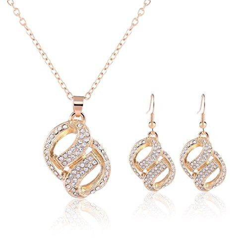 2 pc parure bijoux 2016 neuf femme plein de diamants pois collier et boucles d oreilles. Black Bedroom Furniture Sets. Home Design Ideas