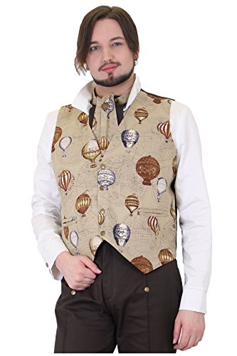 Altissimo-Mens-Brown-Steampunk-Vest-Hot-Air-Balloons-Maps-Sizes-S-2XL