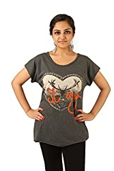 INDRICKA Charcoal colour 100% Organic Cotton Top for womens.