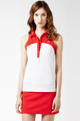 Sleeveless Technical Pique Color Block Polo