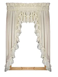 Stephanie Country Ruffle 3 Piece Swag Curtains Set 132inchby63inch 3 Inch Rod Pocket Natural
