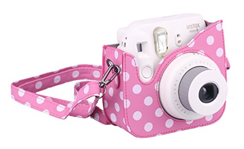[Fujifilm Instax Mini 8 Case] - CAIUL Comprehensive Protection Instax Mini 8 Camera Case Bag With Soft PU Leather Material [ Film Count Show Design ] ( Dot Pink ) fujifilm instax mini 8 синий