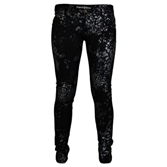 9Q Womens Black Ladies Snake Printed Stretch Skinny Fit Trousers Jeans Size 12