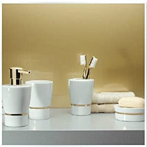 Bathroom accessory sets classical gold for Striped bathroom accessories sets