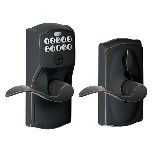 Schlage Fe595Vcam716Acc Camelot Keypad Accent Lever Door Lock, Aged Bronze