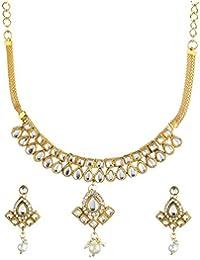Zeneme Kundan Designer Gold Plated Necklace Set With Earring For Women & Girls