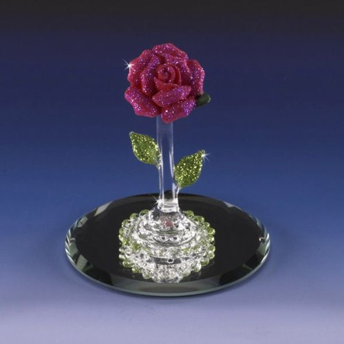 Collectible Miniature Spring Rose Red Crystal Figurine Porcelain Flower Vibrant Pink Glitter Shimmery