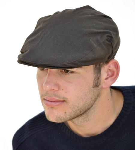 Mens Wax Cotton Flat Cap With Thinsulate Lining (WXC02)