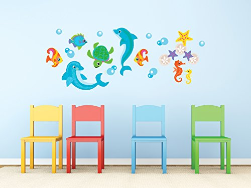Sunny Decals Dolphin Fabric Wall Decals, Jumbo