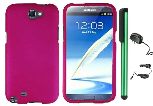 Hot Pink Design Protector Hard Cover Case for Samsung Galaxy Note II N7100 (AT&T, Verizon, T-Mobile, Sprint, U.S. Cellular) Android Smart Phone + Luxmo Brand Travel (Wall) Charger & Car Charger + Combination 1 of New Metal Stylus Touch Screen Pen (4