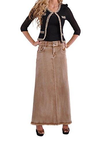 Style J Fringed Fashionista Long Khaki Skirt-Brushed Brown-36(16)
