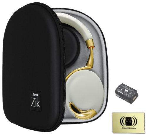 Parrot Zik Touch-Activated Bluetooth Headphones (Yellow/Gold) Bundle With Parrot Zik Black Case, Parrot Zik Battery (3.7V - 800Mah) And Custom Designed Zorro Sounds Cleaning Cloth