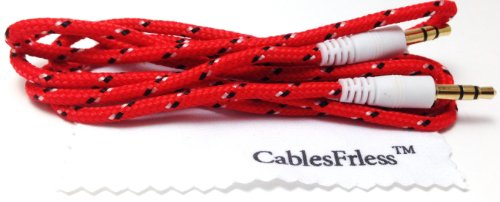 Cablesfrless (Tm) 3Ft 3.5Mm Auxiliary (Aux) Audio Jack Cable (Braided Style) (Red)