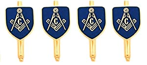 Gold Plated Masonic Blue Lodge Shirt Stud Set