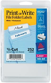 252-Pk. Avery 1/3 Cut File Folder Labels