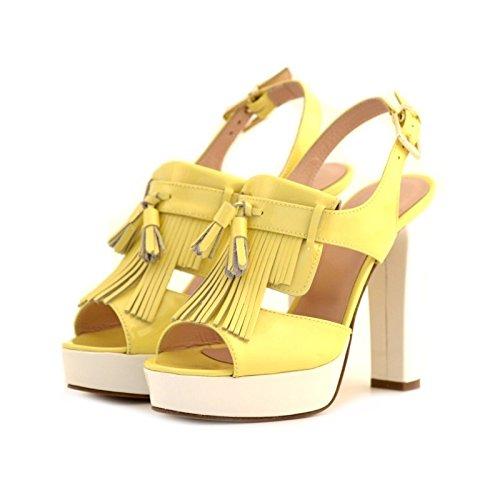 Sandali Chiara Luciani bianco giallo pelle tacco 39