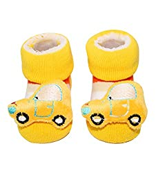 Wonderkids Car Plush Baby Socks Booties - Yellow