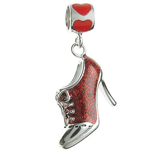 Rhodium-plated Sterling Silver Red Lace High Heel Shoe Enamel European Style Dangle Bead Charm