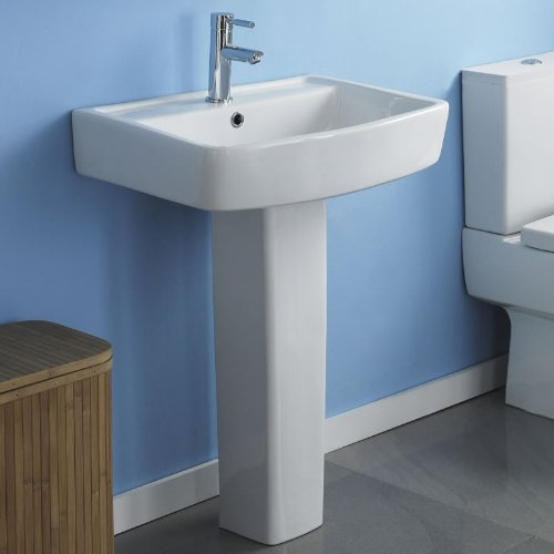 Esq 520mm Gloss White Square Ceramic Basin Sink and Pedestal Bathroom, En-suite Pottery
