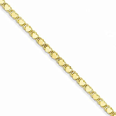 14K Gold Polished Double-Sided Heart Anklet 10 Inches