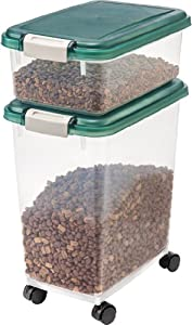 IRIS Airtight Pet Food Storage Container Combo, 12 Quart, 33 Quart, Green