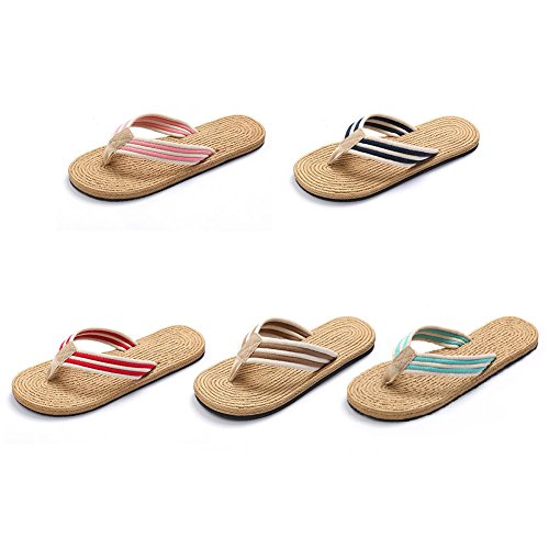 Upinva Flip-folps Slippers Unisex Couples Non-slip EVA Cotton Oxford Stripe Strap Thong Open Tote Sandals Moisture Wicking Anti-stink Cool Mediterranean-style