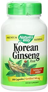 Nature's Way Ginseng, Korean, 100 Capsules