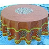 jojo la cigale - Tablecloth LE CLOS DES OLIVIERS Round Cotton Print 180cm Terracotta