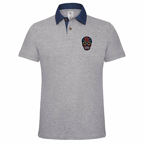 Men's Sugar Candy Skull Day Of The Dead Embroidered Holiday Festival Polo Shirt