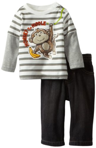 Kids Headquarters Baby-Boys Newborn Stripes Twofer Top With Black Jeans Monkey, Gray, 6-9 Months front-789548