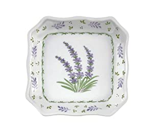 Porcelain Lavender Design Plate - 6.25 Inches Square