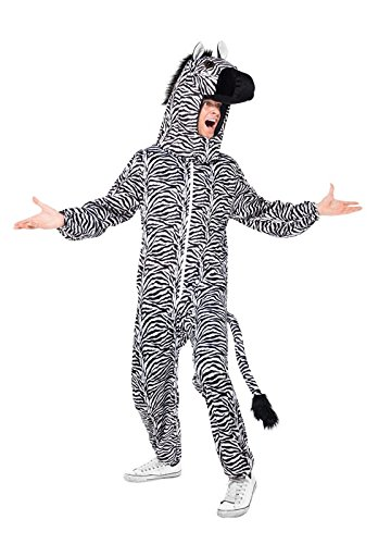 Smiffy's Men's Zebra Costume with Bodysuit and Hood