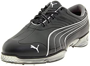 PUMA Men's Cell Fusion Golf Shoe,Black/Puma Silver,10 M US