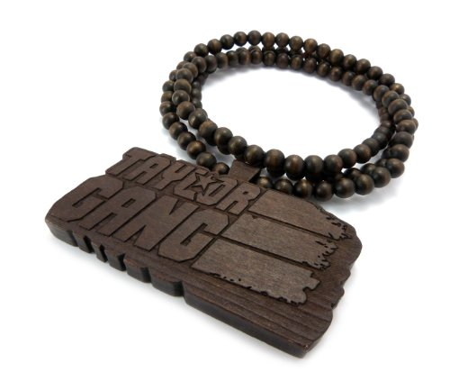 Brown Wooden Taylor Gang Pendant with a 36 Inch Wood Beaded Necklace Wiz Khalifa Chain