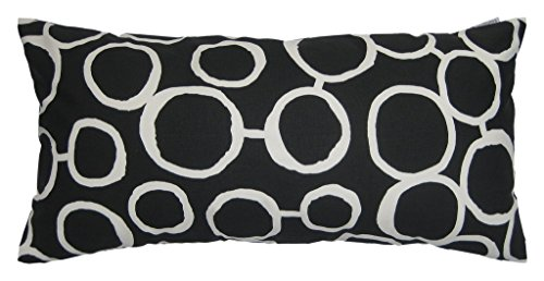 JinStyles® Cotton Canvas Circle Accent Decorative Throw Lumbar Pillow Cover / Cushion Sham (Black & White, Rectangular, 1 Cover for 12 x 24 Inserts)