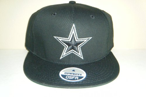 NFL Dallas Cowboys Flat Visor Classic Logo Snapback Hat Cap All Black at Amazon.com