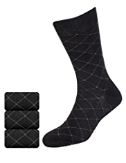3 Pairs of Collezione Diamond Socks