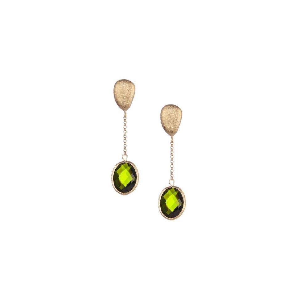 Rivka Friedman Cascading Faceted Oval Peridot Crystal Dangle Earrings