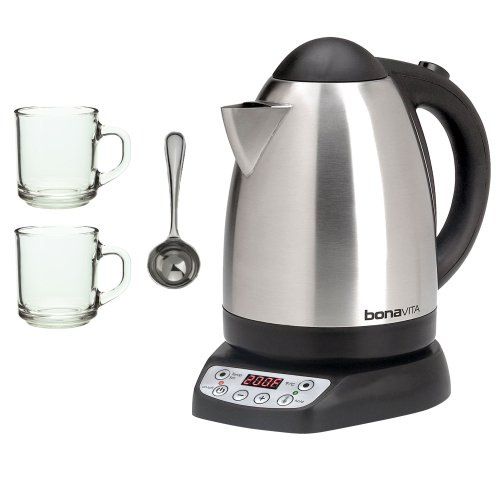 Bonavita BV382517V 1.7L Variable Temperature Electric Kettle + 2-Pieces Glass Coffee Mug + Coffee Measure