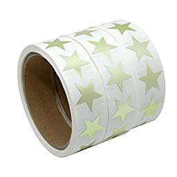 Hybsk(TM) Gold Star Shape Paper Sticker Labels Packaging Seals Crafts Wedding Favor Tag Labels 500 Total Per Roll (3 roll)
