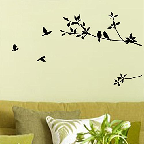 Birds Flying Black Tree Branches Wall Sticker Vinyl Art Decal Mural Home Decor (Tree Branches Wall Decals compare prices)