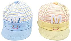 Kandyfloss Babies Caps - Pack of 2 Caps (MRHKFCAPS26, Multi-Colored, 3-6 Months)