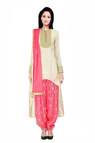 MK EnterPerise Women's Bhagalpuri Silk Beige Center Round Cut Patiala Suit- Dress Material
