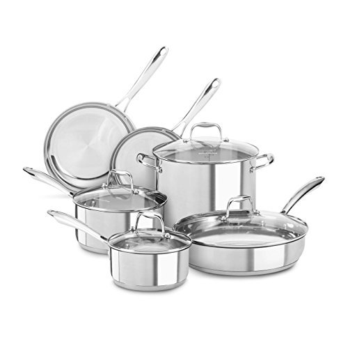 KitchenAid KCSS10LS Stainless Steel 10-Piece Cookware Set - Polished Stainless Steel