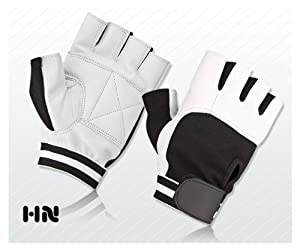 WEIGHT LIFTING PADDED LEATHER GLOVES FITNESS TRAINING BODY BUILDING GYM SPORTS & CYCLING WHEEL CHAIR USE (WHITE (035), LARGE)